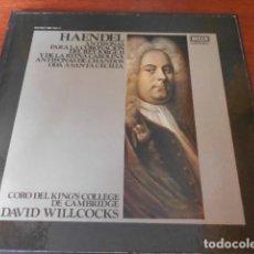 Discos de vinilo: HAENDEL. ANTÍFONAS PARA CORONACIÓN JORGE II Y CAROLINA. ANTÍFONAS CHANDOS. ODA STA.CECILIA.. Lote 156623590