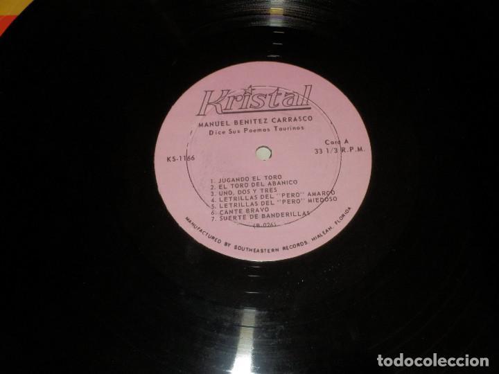 Discos de vinilo: Manuel Benitez Carrasco - Dice sus poemas taurinos - Kristal - Ks-1166 - Muy raro - Foto 3 - 156682422