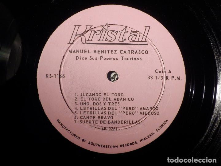 Discos de vinilo: Manuel Benitez Carrasco - Dice sus poemas taurinos - Kristal - Ks-1166 - Muy raro - Foto 4 - 156682422