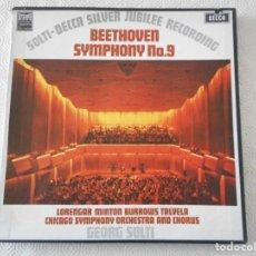 Discos de vinilo: BEETHOVEN. SYMPHONY Nº. 9. CAJA CON 2 LP'S VINILO. DECCA. GEORGE SOLTI. PILAR LORENGAR, YVONNE MINTO. Lote 156691094