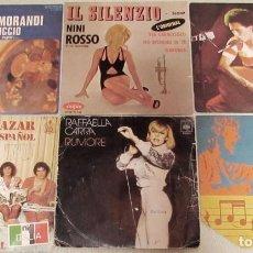 Discos de vinilo: LOTE 6 SINGLES MÚSICA ITALIANA. GIANNI MORANDI. NINNI ROSSO. GIANNI BELLA. MATIA BAZAR. CARRA. Lote 156759994