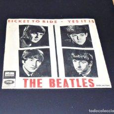 Discos de vinilo: THE BEATLES ---TICKET TO RIDE -- YES IT IS ---1ª EDICION ORIGINAL AÑO 1965 ---LABEL VERDE ---. Lote 140788418