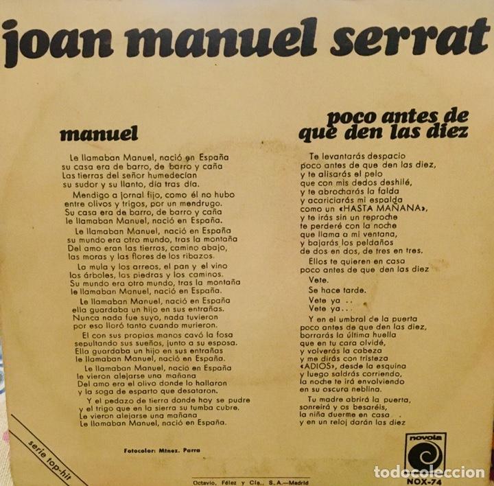 Discos de vinilo: Joan Manuel Serrat. Manuel/Poco Antes de que den las 10 - Foto 2 - 156788540