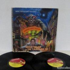 Discos de vinilo: NIGHTMARE ON CARNABY ST STREET -2 LP- EXODUS HELLION WILD DOGS TIGERTAILZ STRYPER CREEK RIO Q.5.. Lote 156854546