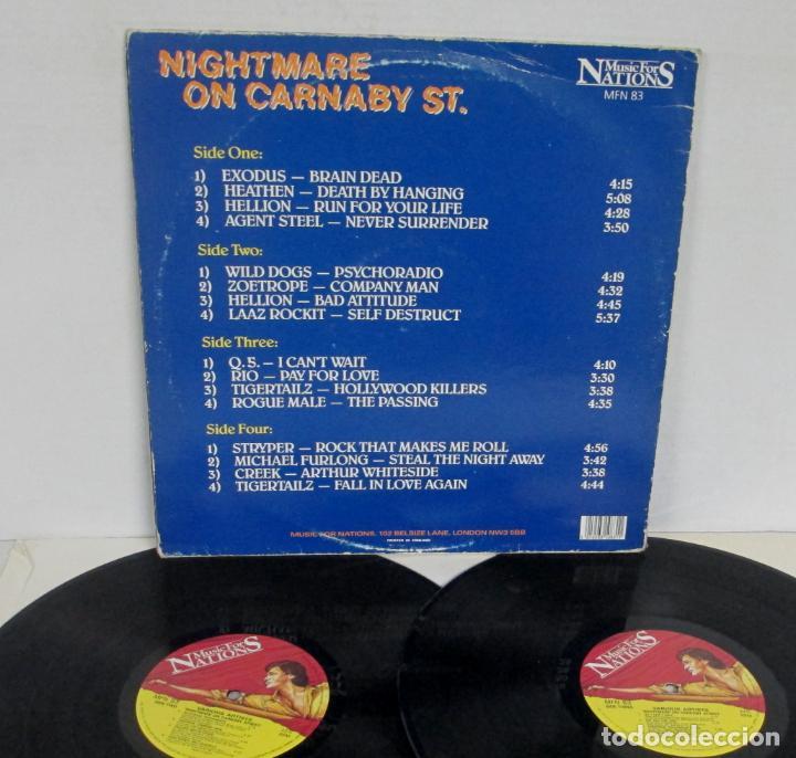 Discos de vinilo: NIGHTMARE ON CARNABY ST STREET -2 LP- EXODUS HELLION WILD DOGS TIGERTAILZ STRYPER CREEK RIO Q.5. - Foto 3 - 156854546