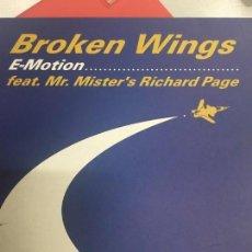 Discos de vinilo: E - MOTION FEAT. MR. MISTER RICHARD PAGE - BROKEN WINGS MAXI SINGLE SPAIN 2001. Lote 156862254