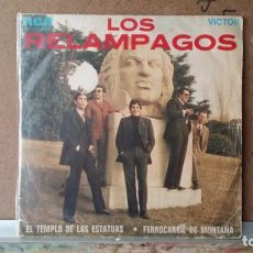 Discos de vinilo: ** LOS RELAMPAGOS - EL TEMPLO DE LAS ESTATUAS / FERROCARRIL MONTAÑA - SG AÑO 1969 - LEER DESCRIPCION. Lote 156884142