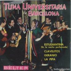 Discos de vinilo: TUNA UNIVERSITARIA DE BARCELONA, ESTUDIANTINA. BELTER 1961. Lote 156912250