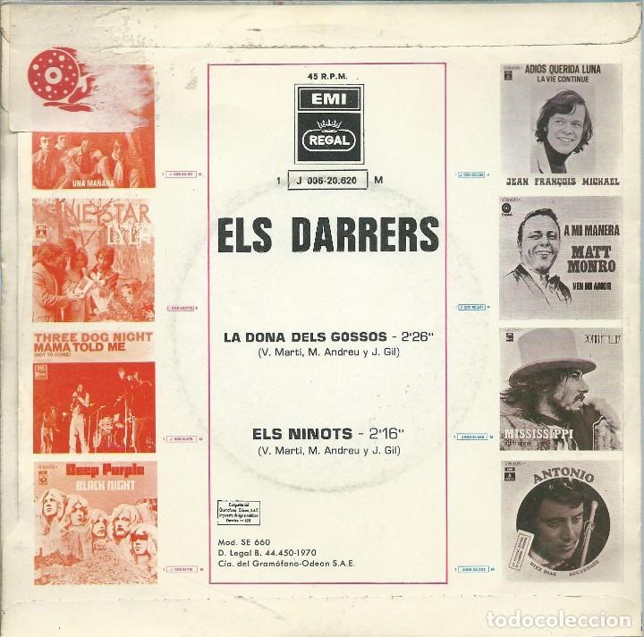 Discos de vinilo: ELS DARRERS, LA DONA DELS GOSSOS, EMI 1970 SINGLE - Foto 2 - 156929138