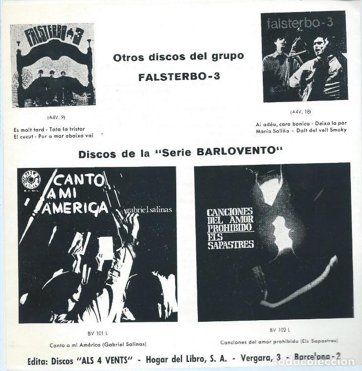 Discos de vinilo: FALSTERBO 3, MONOLOGO DEL VIEJO TRABAJADOR. BARLOVENTO 1969 SINGLE - Foto 2 - 156929934