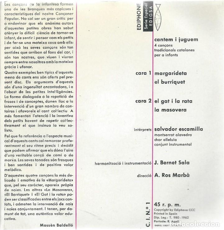 Discos de vinilo: SALVADOR ESCAMILLA, CANTEM I JUGUEM. EDIGSA 1962 - Foto 2 - 156943274