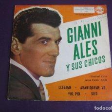 Discos de vinilo: GIANNI ALES EP RCA 1960 - I FESTIVAL COSTA VERDE GIJON - LLEVAME +3 - ITALIA POP CHANSON - DEGLANE. Lote 156956802