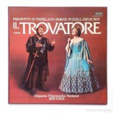 Discos de vinilo: IL TROVATORE- PAVAROTTI / SUTHERLAND / HORNE / WIXELL / GHIAUROV - BOX 3 LP. Lote 157016810