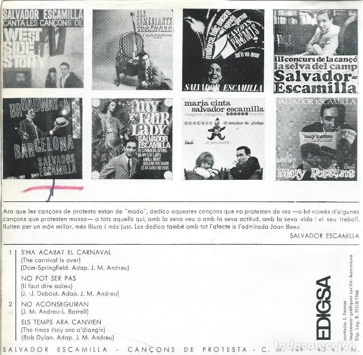 Discos de vinilo: SALVADOR ESCAMILLA, CANÇONS DE PROTESTA. EDIGSA 1966 - Foto 2 - 157130374