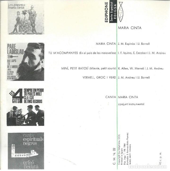 Discos de vinilo: MARIA CINTA, TU MACOMPANYES. EDIGSA 1964 - Foto 2 - 157130662