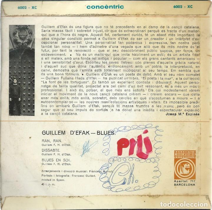 Discos de vinilo: GUILLEM DEFAK, BLUES. CONCENTRIC 1965 - Foto 2 - 157134450