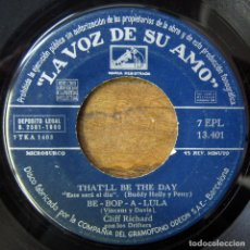 Disques de vinyle: CLIFF RICHARD, THE DRIFTERS - THAT'LL BE THE DAY/ BE BOP A LULA / MY BABE / DOWN THE LINE - 1960, EP. Lote 157227802