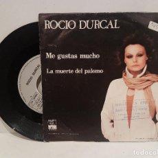 Discos de vinilo: ANTIGUO SINGLE ROCIO DURCAL ME GUSTAS MUCHO LA MUERTE DEL PALOMO BUEN ESTADO VER FOTOS. Lote 157228714