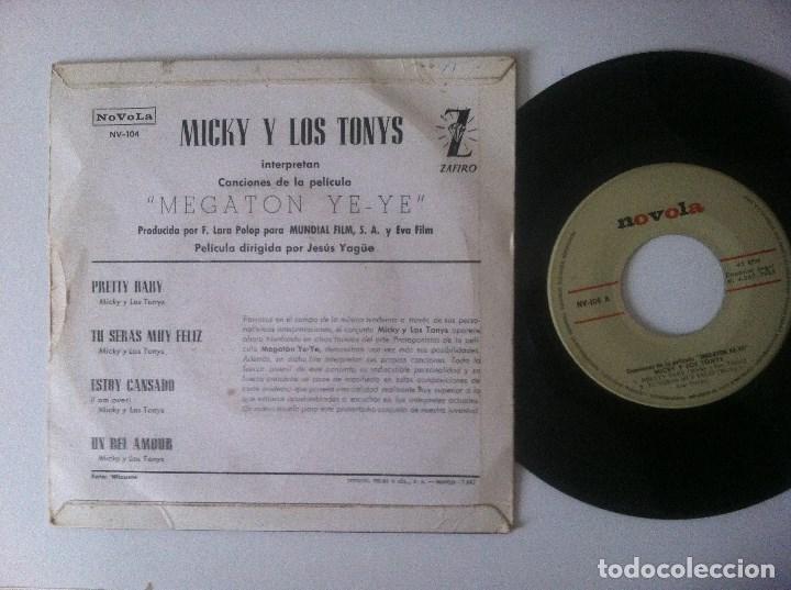 Discos de vinilo: MICKY Y LOS TONYS - pretty baby - EP 1965 - NOVOLA - MEGATON YEYE B.S.O - Foto 2 - 157263470