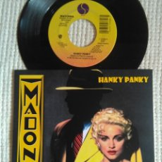 Discos de vinilo: MADONNA '' HANKY PANKY / MORE '' SINGLE 7'' USA 1990 UNIQUE PICTURE. Lote 157285042
