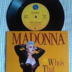 Discos de vinilo: MADONNA - '' WHO'S THAT GIRL / WHITE HEAT '' SINGLE 7'' UK 1987 UNIQUE PICTURE. Lote 157285778