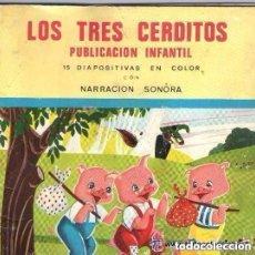 Discos de vinilo: LOS TRES CERDITOS, FLEXI-DISC CON NARRACION SONORA Nº 6 + 13 DIAPOSITIVAS EN COLOR, 1968. Lote 157321130