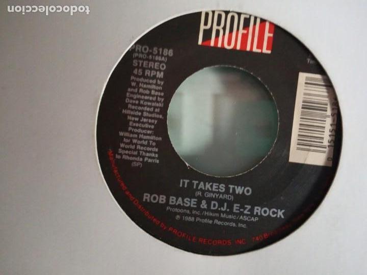 ROB BASE & DJ E-Z ROCK IT TAKES / IT TAKES TWO (INSTRUMENTAL) HIP HOP ORIGINAL USA 1988 VG+ (Música - Discos - Singles Vinilo - Rap / Hip Hop)