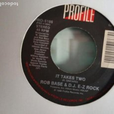 Discos de vinilo: ROB BASE & DJ E-Z ROCK IT TAKES / IT TAKES TWO (INSTRUMENTAL) HIP HOP ORIGINAL USA 1988 VG+. Lote 157383526