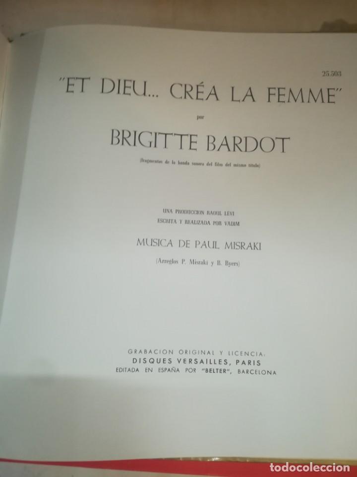 Discos de vinilo: BRIGITTE BARDOT, ET DIEU CREA LA FEMME ,BELTER EP ORIGINAL 1957. - Foto 2 - 193228833