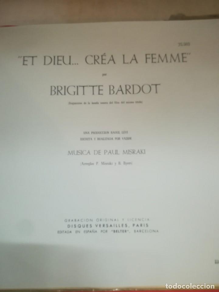 Discos de vinilo: BRIGITTE BARDOT, ET DIEU CREA LA FEMME ,BELTER EP ORIGINAL 1957. - Foto 4 - 193228833
