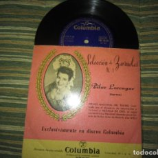 Discos de vinilo: PILAR LORENGAR - SELECCION DE ZARZUELAS Nº 1 EP - ORIGINAL ESPAÑOL - COLUMBIA 1953 MONO. Lote 157821274