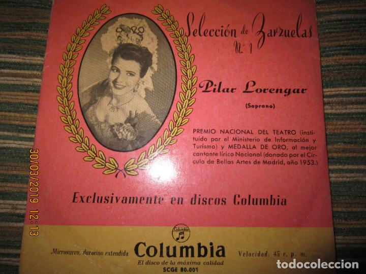 Discos de vinilo: PILAR LORENGAR - SELECCION DE ZARZUELAS Nº 1 EP - ORIGINAL ESPAÑOL - COLUMBIA 1953 MONO - Foto 2 - 157821274