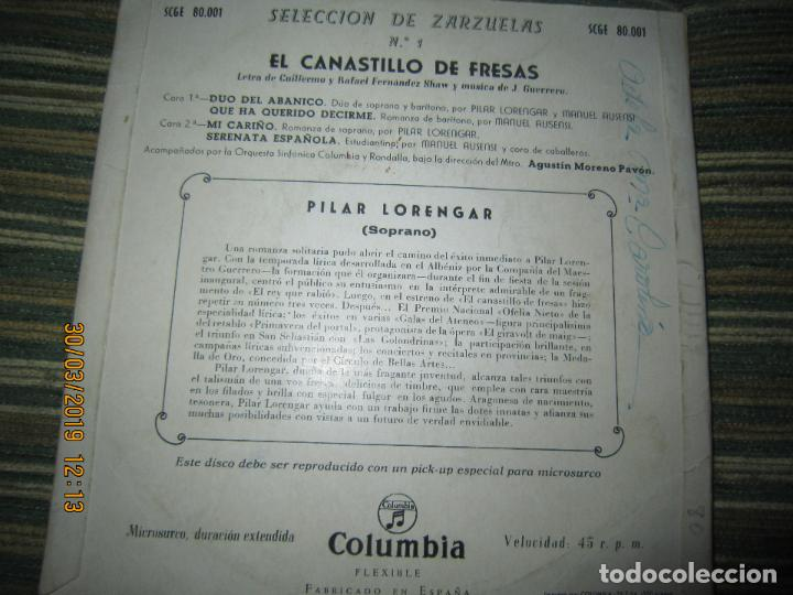 Discos de vinilo: PILAR LORENGAR - SELECCION DE ZARZUELAS Nº 1 EP - ORIGINAL ESPAÑOL - COLUMBIA 1953 MONO - Foto 3 - 157821274