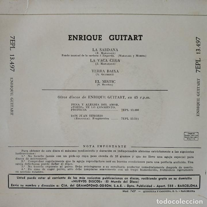 Discos de vinilo: ENRIQUE GUITART - LA SARDANA / LA VACA CEGA / TERRA BAIXA / EL MISTIC - EP SPAIN DE 1960 VG++ / NM - Foto 2 - 157832298