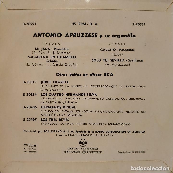 Discos de vinilo: ANTONIO APRUZZESE - MI JACA / MACARENA EN CHAMBERI / GALLITO / SOLO TU, SEVILLA - EP SPAIN 1962 EX - Foto 2 - 157883350