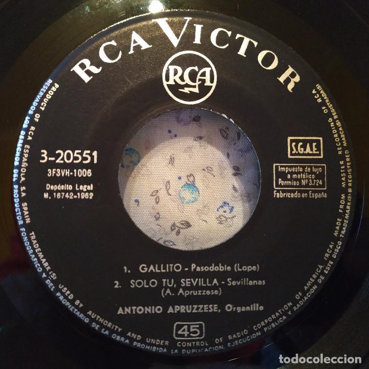 Discos de vinilo: ANTONIO APRUZZESE - MI JACA / MACARENA EN CHAMBERI / GALLITO / SOLO TU, SEVILLA - EP SPAIN 1962 EX - Foto 4 - 157883350