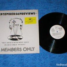 Discos de vinilo: DJ MEMBERS ONLY LP SEPTEMBER 86 PREVIEWS DJ HOLLYWOOD BEYOND OMD JANICE CHRISTIE FULL FORCE MANCRAB. Lote 159899290