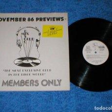 Discos de vinilo: DJ MEMBERS ONLY LP NOVEMBER 86 PREVIEWS ART OF NOISE DEBBIE HARRY MADNESS SLY STONE ARETHA FRANKLIN. Lote 159899866