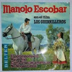 Discos de vinilo: LOTE 12 SINGLES VARIADOS DE MANOLO ESCOBAR.. Lote 157974534