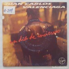 Discos de vinilo: SINGLE / JUAN CARLOS VALENCIAGA / UN DÍA DE INVIERNO / 1990 PROMO. Lote 158140866