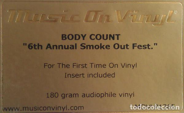 Discos de vinilo: BODY COUNT Featuring ICE-T - Smokeout Festival Presents (LP 2015, Music On Vinyl MOVLP1365) PRECINT - Foto 3 - 158141958