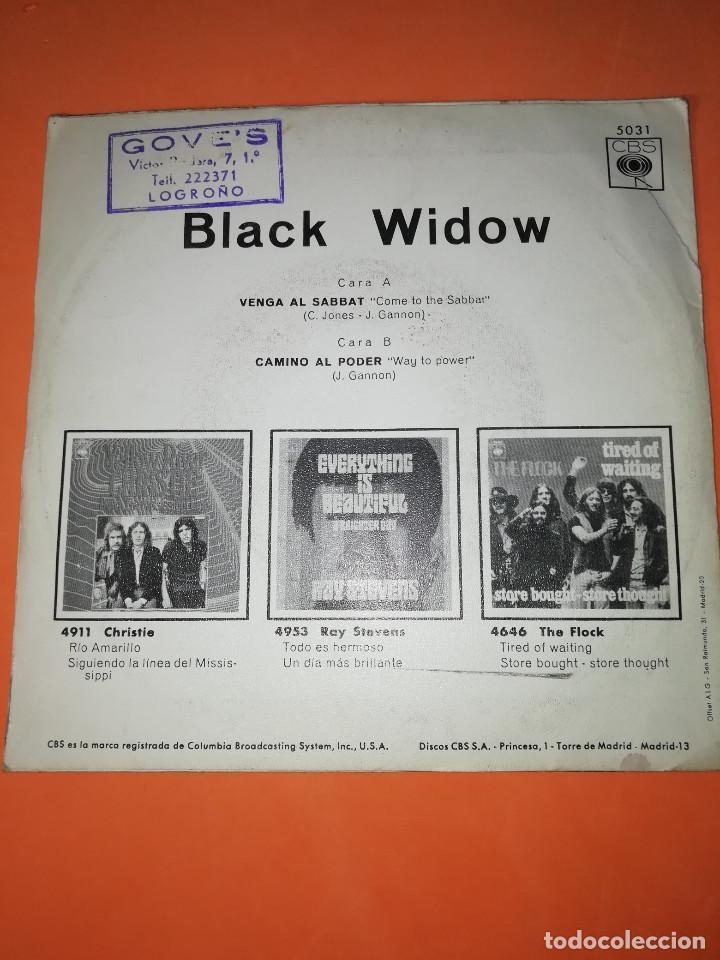 Discos de vinilo: BLACK WIDOW - VENGA AL SABBAT-CAMINO AL PODER .SINGLE EDITADO EN ESPAÑA CBS. 1970. RAREZA - Foto 2 - 158148346