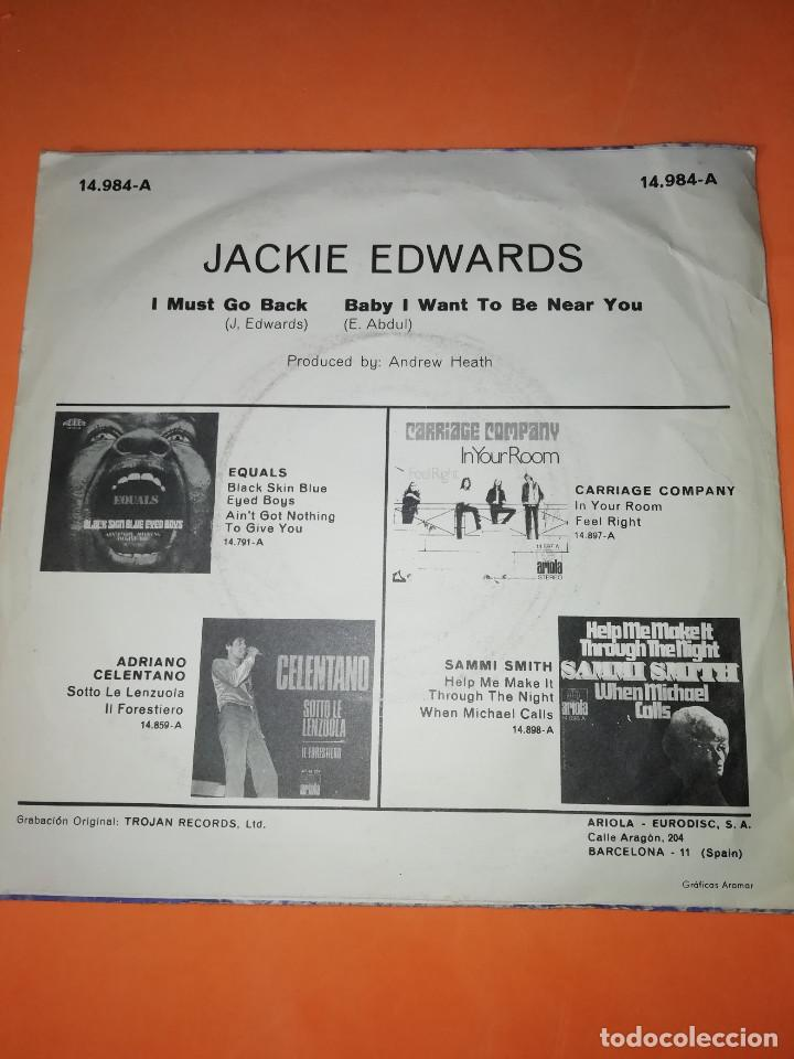 Discos de vinilo: JACKIE EDWARDS / I MUST GO BACK / BABY I WANT TO BE NEAR YOU . TROJAN RECORDS 1971 - Foto 2 - 158150194