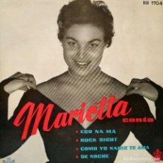 Discos de vinilo: MARIETTA CANTA ACOMPAÑADA POR GREG SEGURA Y SU ORQUESTA - ESO NA MA + 3 - EP HISPAVOX - TRICENTRO. Lote 158186030