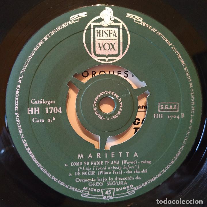 Discos de vinilo: MARIETTA CANTA ACOMPAÑADA POR GREG SEGURA Y SU ORQUESTA - ESO NA MA + 3 - EP HISPAVOX - TRICENTRO - Foto 4 - 158186030