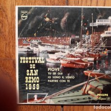 Discos de vinilo: FESTIVAL DE SAN REMO 1959 - ARTURO TESTA - PIOVE + TU SEI QUI + IO SONO IL VENTO + PARTIRE CON TE . Lote 158209086