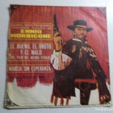 Discos de vinilo: SINGLE - HUGO MONTENEGRO INTERPRETA A ENNIO MORRICONE - EL BUENO, EL BRUTO Y EL MALO - EL FEO 1968. Lote 158320782