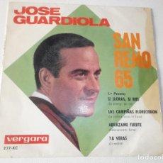 Discos de vinilo: JOSÉ GUARDIOLA / SI LLORAS, SI RÍES/ LAS CAMPIÑAS FLORECIERON / ABRÁZAME FUERTE / YA VERÁS / EP 1965. Lote 158413586
