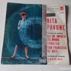Discos de vinilo: RITA PAVONE - QUE ME IMPORTA DEL MUNDO - EP ESPAÑOL DE 4 CANCIONES CANTADO EN ESPAÑOL. Lote 158418774