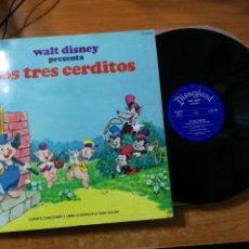Discos de vinilo: LOS TRES CERDITOS DISCO LIBRO LP 1969 ESPAÑA WALT DISNEY CARMEN MOLINA 2 TEMAS EN ESPAÑOL. Lote 158591322